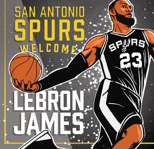"Created an illustration for an article in @espn called ""Courting the King"". The assignment was to create an Image that you have one chance to convince #labronjames to join the #sanantonio #spurs. Surely the 🌮 s will make him think twice."