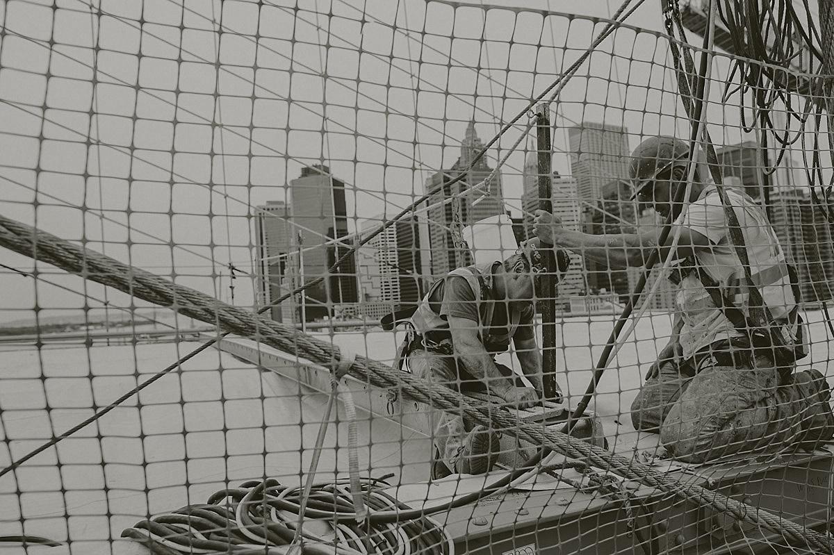 Workers Brooklyn bridge