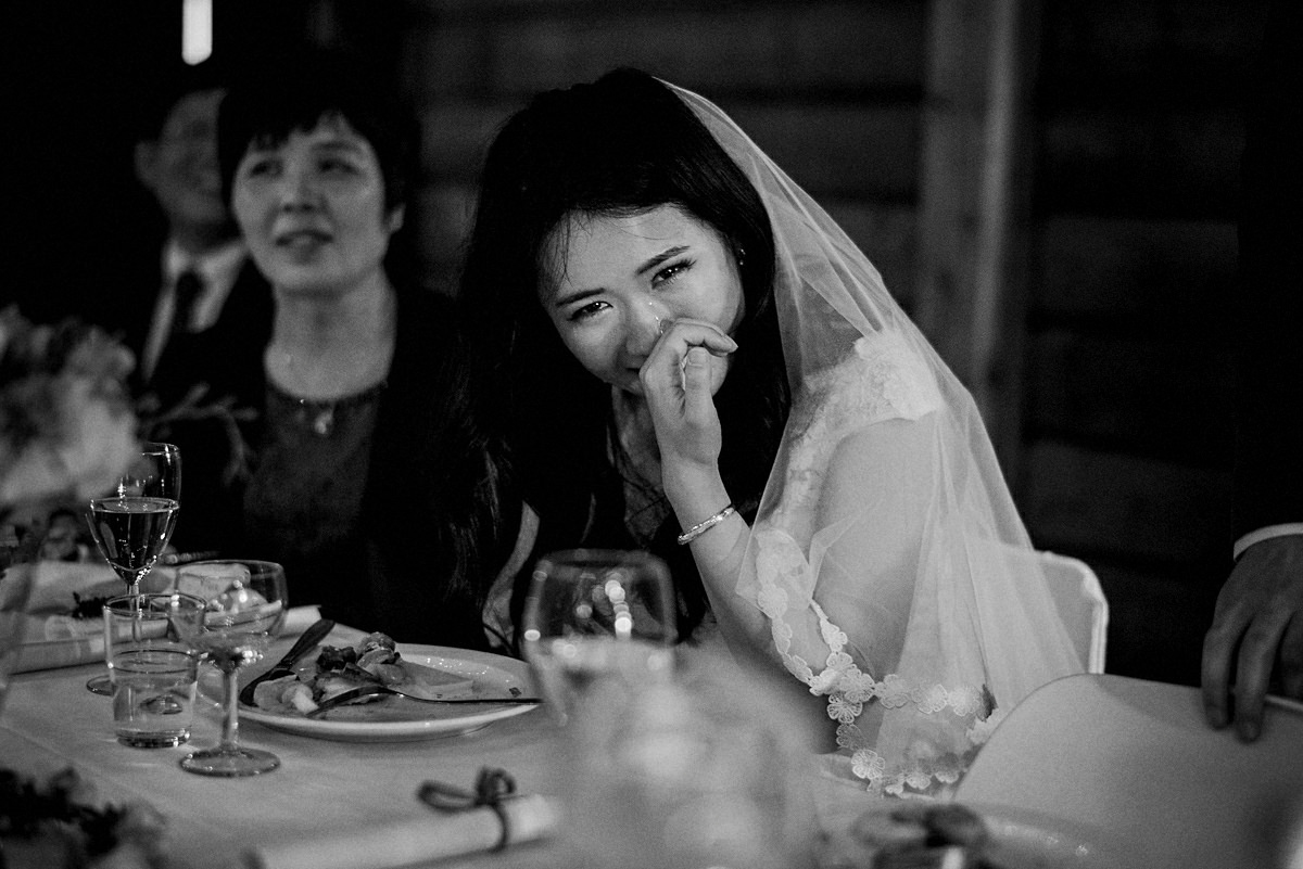 Bride in tears after the grooms speech