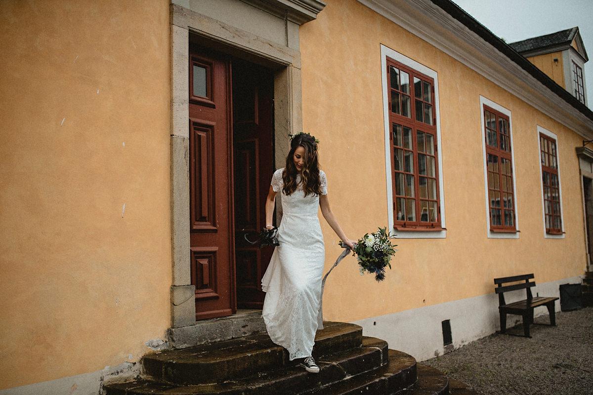 Bride walking towards first look