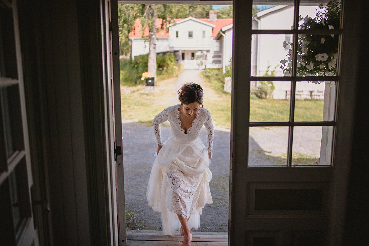 Bride walks to the first look