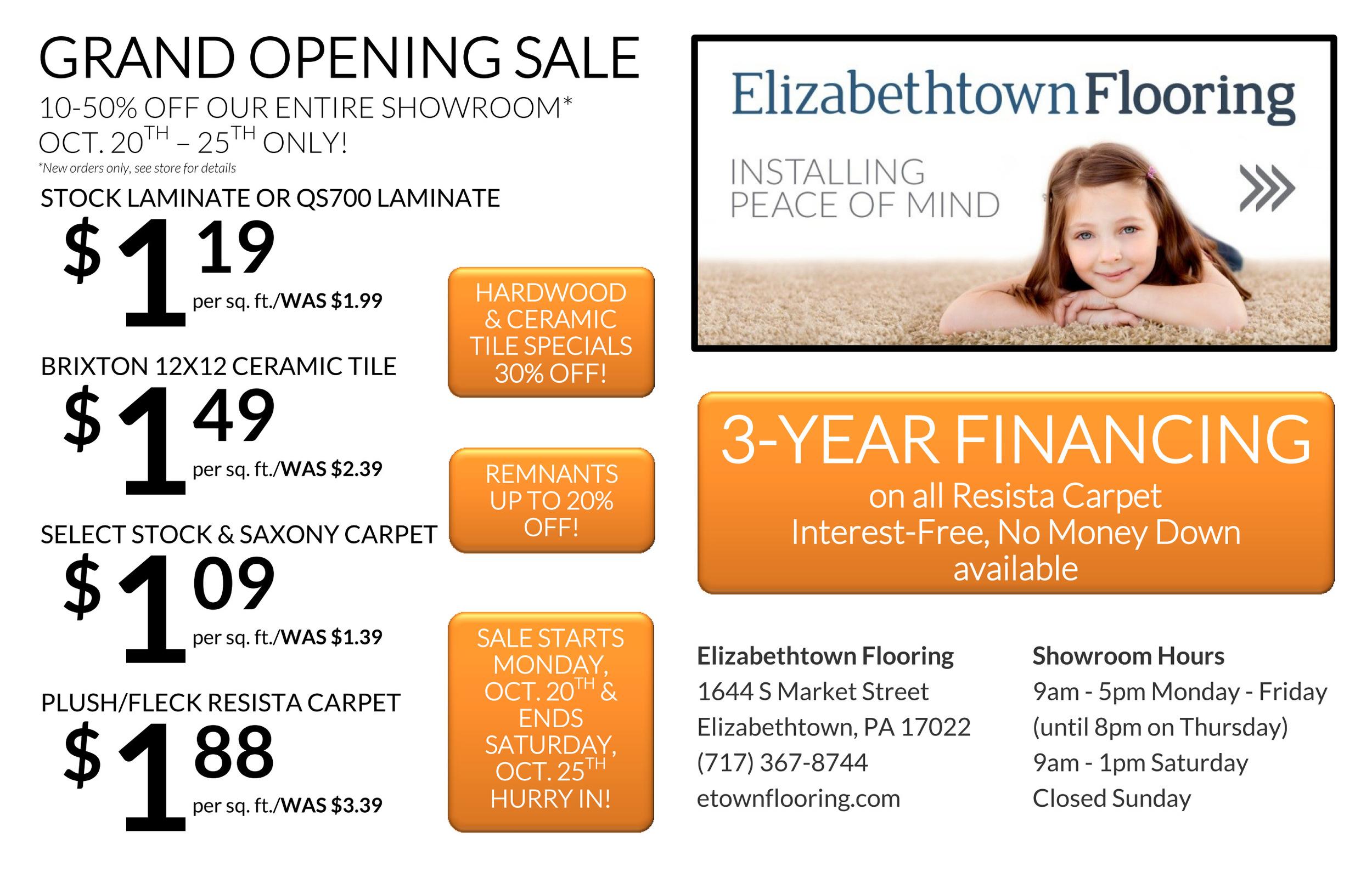 Grand Opening Sale 2014 - Elizabethtown Flooring