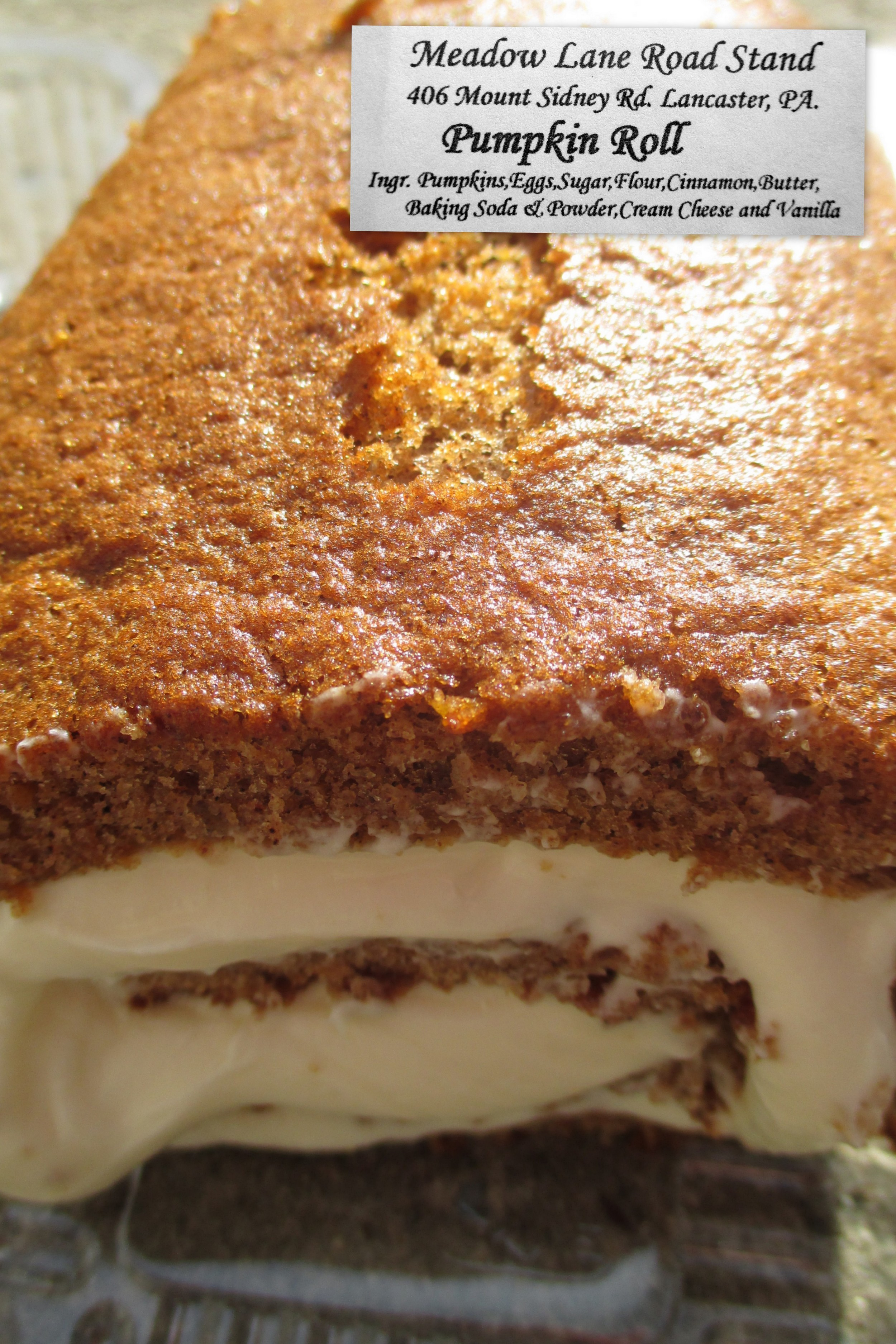 The Meadow Lane Road Stand Pumpkin Roll - many have fought over this famous roll... some have even won and gotten some before it's gone...