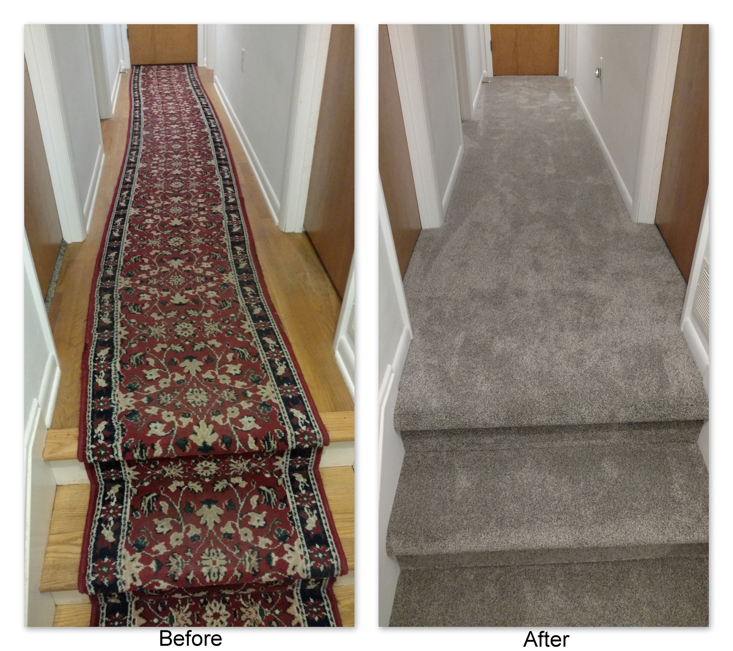 From crooked old runner to classy grey multiflec, Frank & Tonya's carpet choice of Tigressa SoftStyle Sakti Carpet in the color Sundial drastically updated their hall to a modern look.