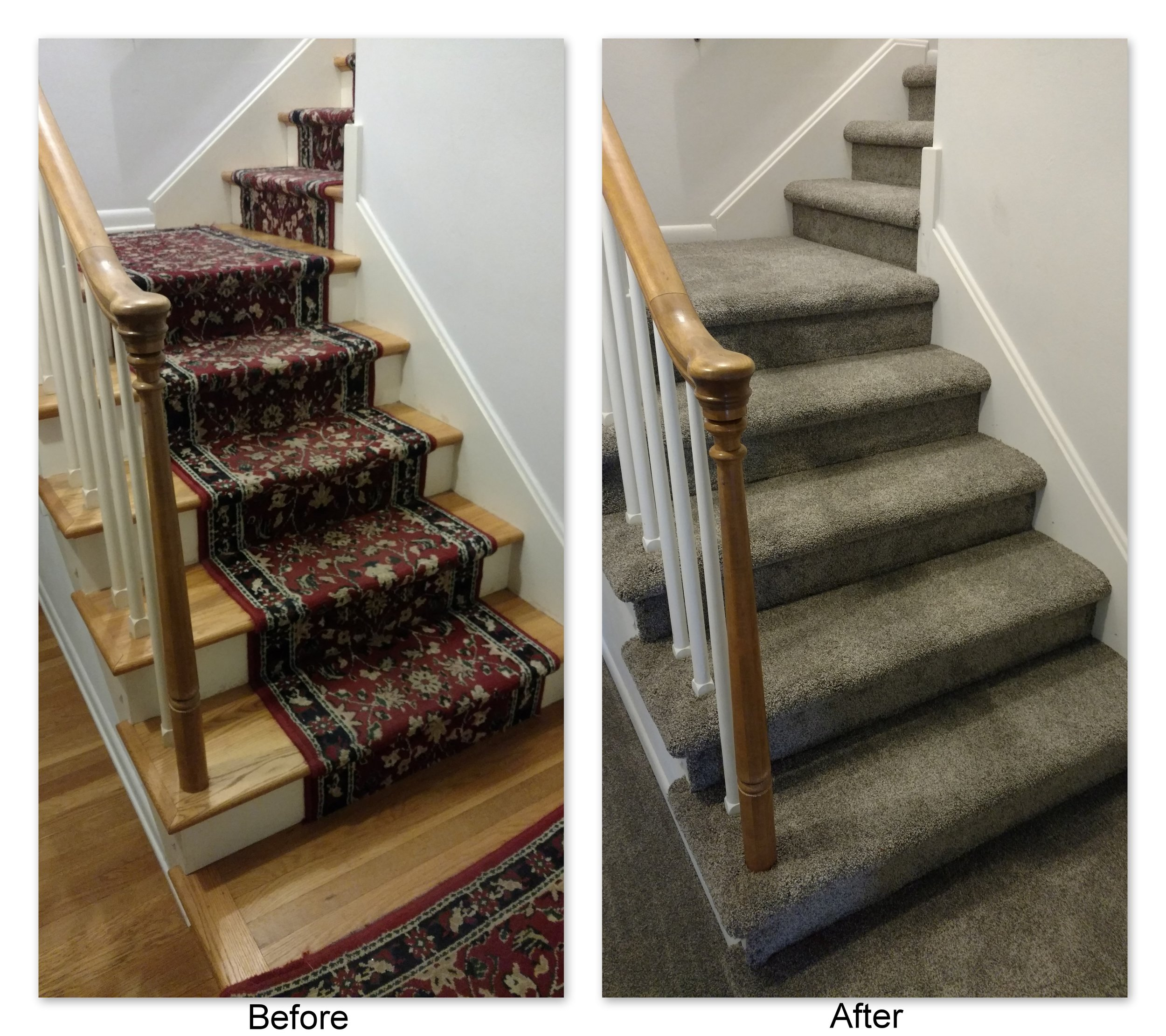 From worn old stair runner to classy grey modern multiflec, Frank & Tonya's stair carpet choice of Tigressa SoftStyle Sakti Carpet in the color Sundial drastically updated their entry stairs to a contemporary style.