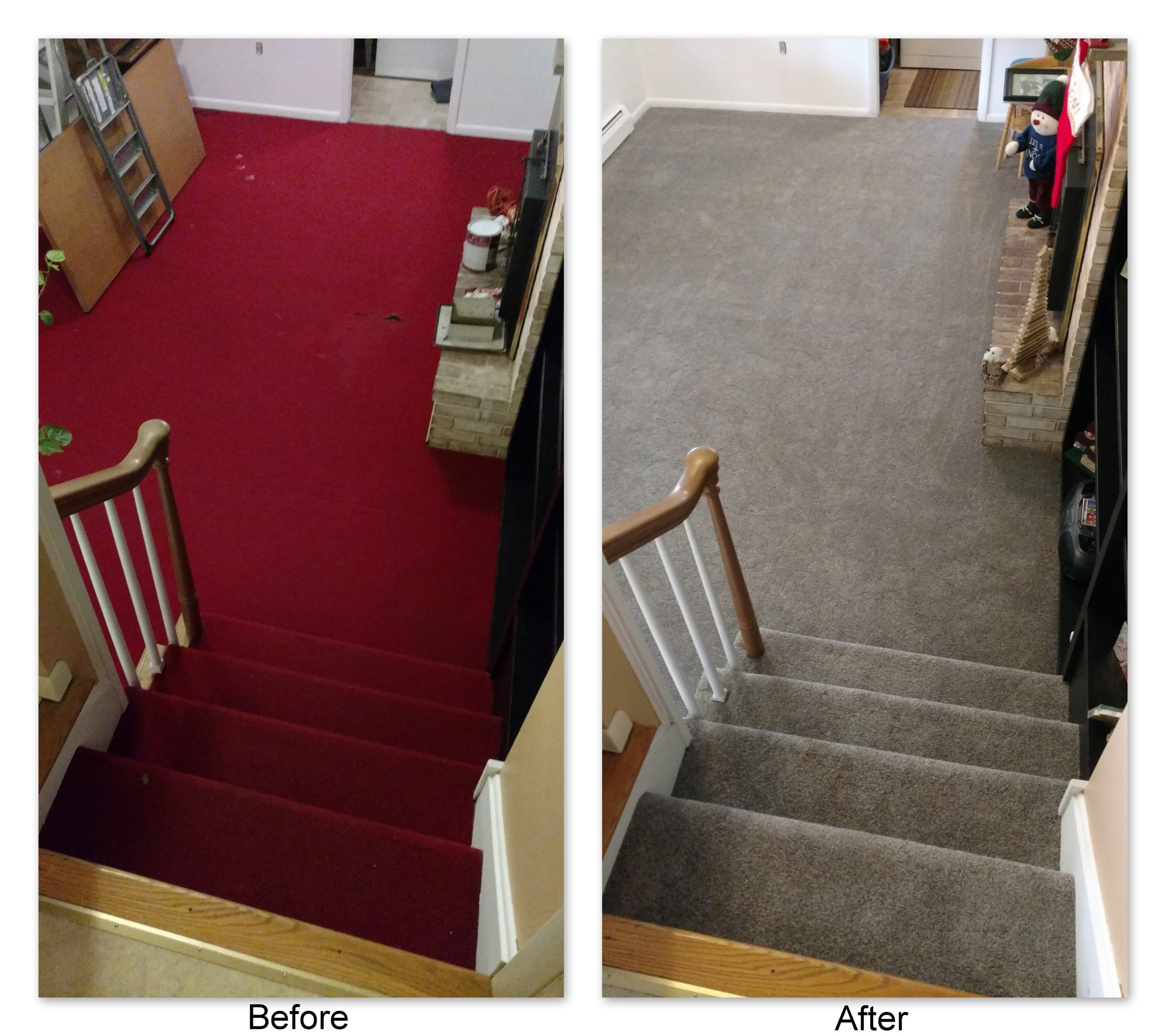 From ugly regal red to classy grey multiflec, Frank & Tonya's carpet choice of Tigressa SoftStyle Sakti Carpet in the color Sundial updated their sunken family room from 70s red into an inviting space for the grandkids to play!