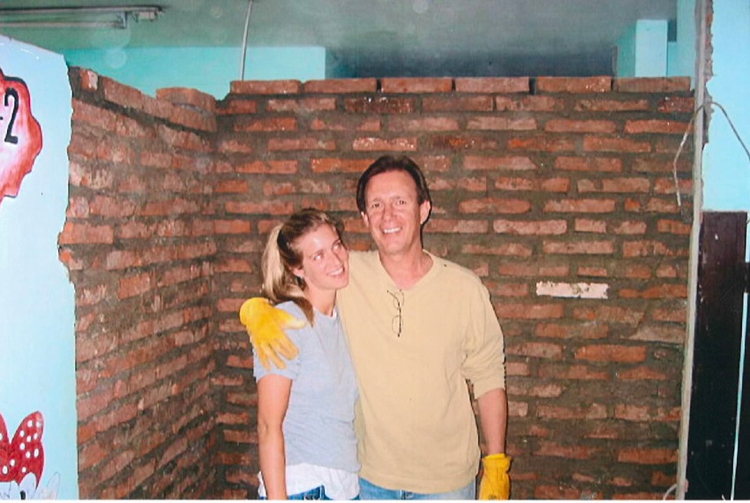 Samantha and Andy working on new clinic construction.