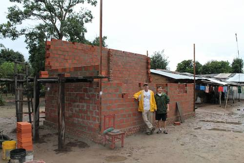 New construction in progress at theGuaraní village. Money is raised throughout the year to build new homes.