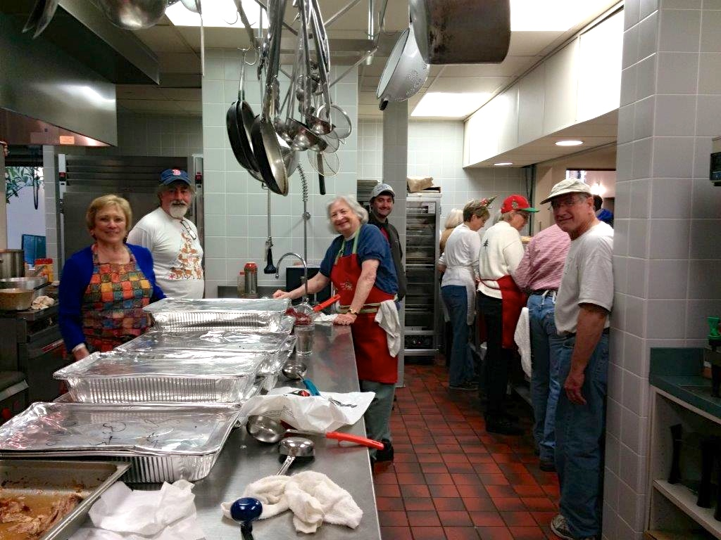 Food prep in the kitchen at Palmer Memorial Church.