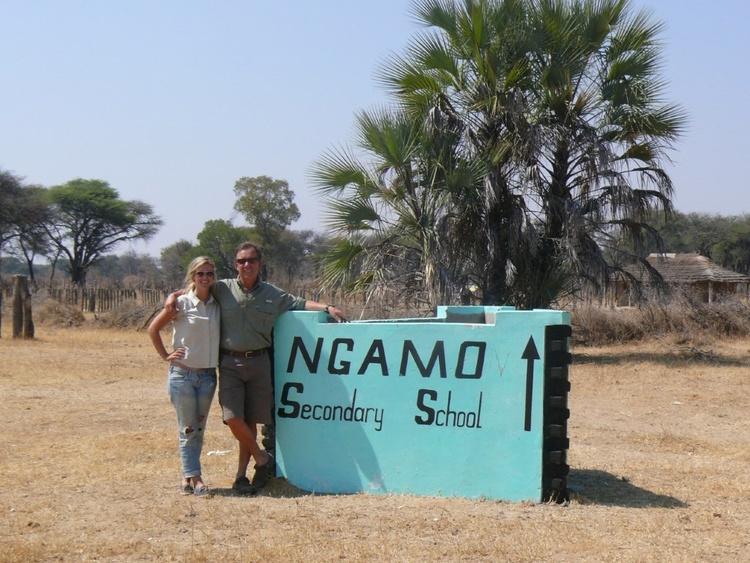 Samantha and Andy visiting Ngamo school to see construction progress.