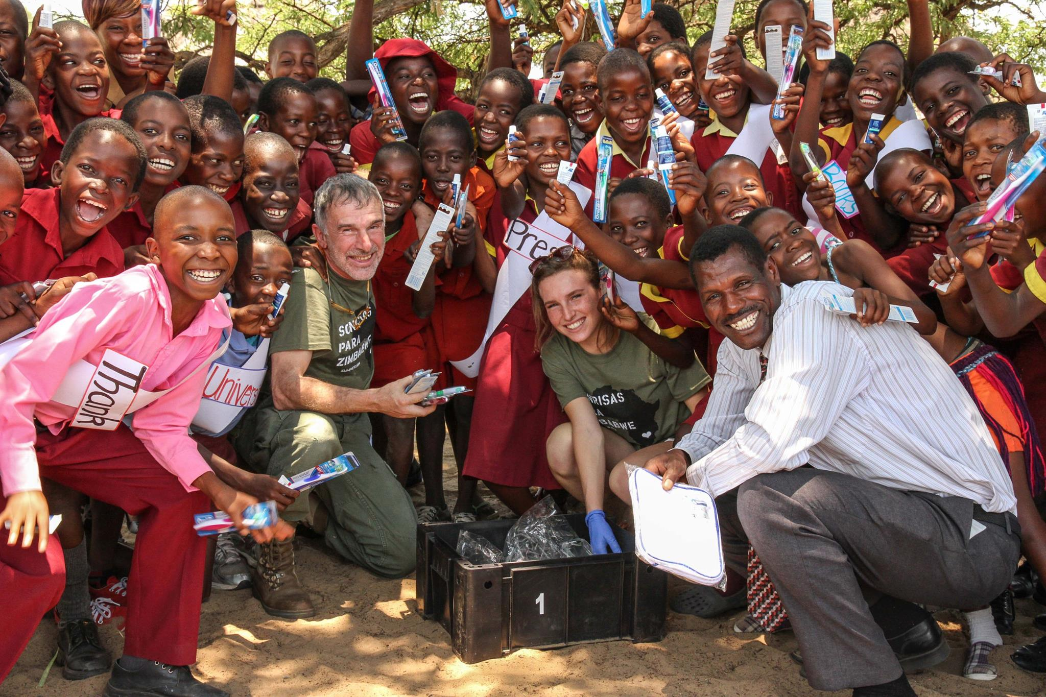 Thanks to our friends from GUM and Post Oak Dental, each child received a toothbrush and toothpaste at the Ngamo School.