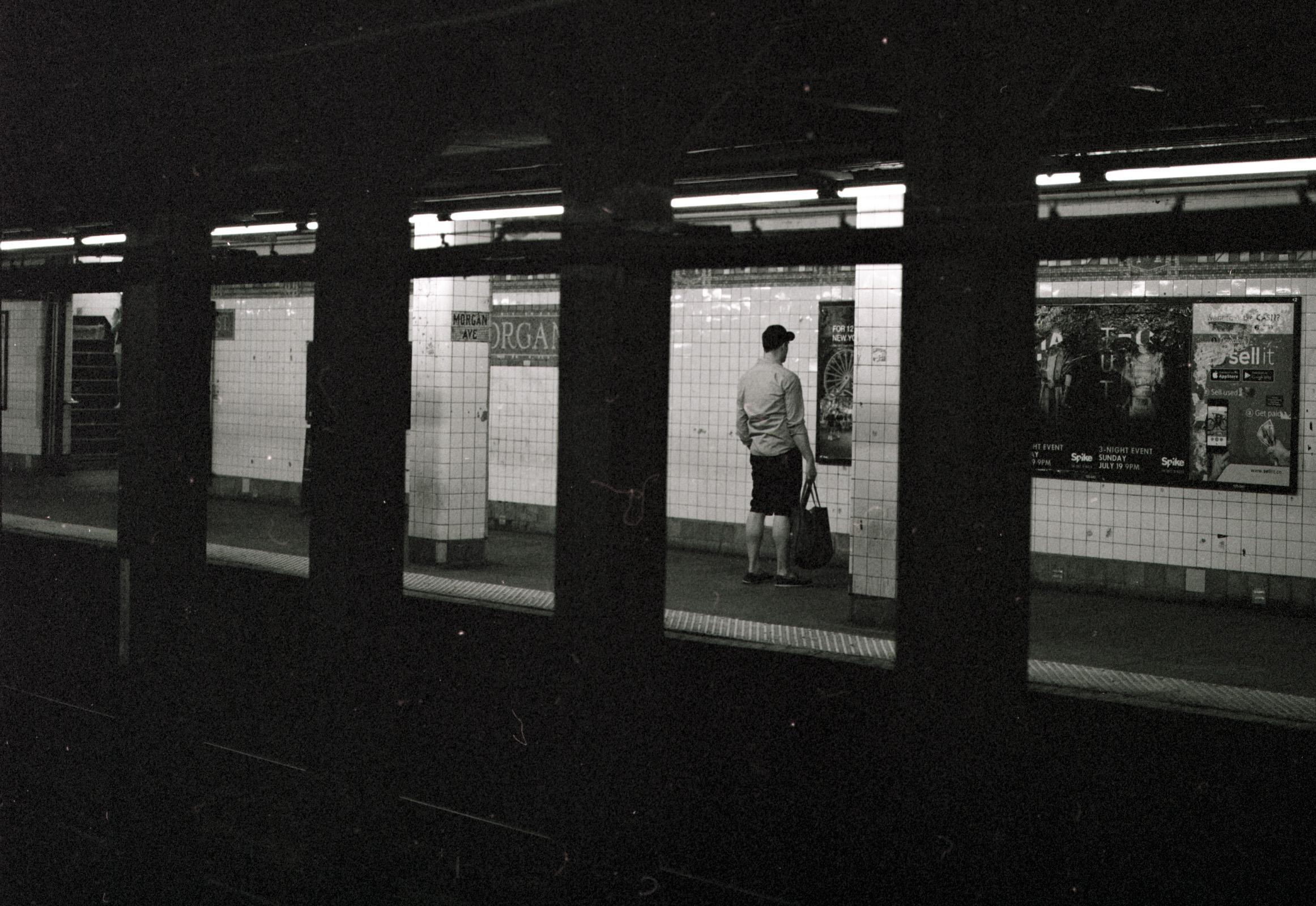Waitin' on the train.