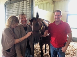 Horses love contact.  July 2014:  Flame at Blackwood Stables with Jan Sinatra, Steve Sinatra, and her trainer Matt Hogan