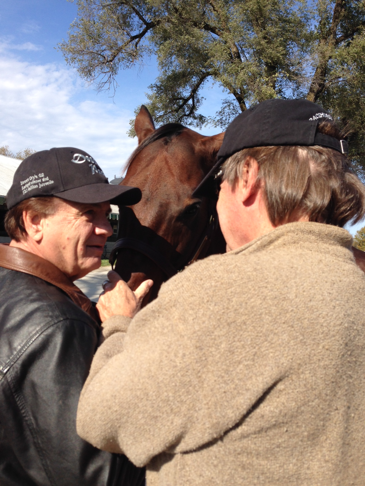 David Smith and Dr Sinatra: an emotional moment saying goodbye to Sage Cat before the she was sold at Keeneland. Lots of history with this G2 producing mare.