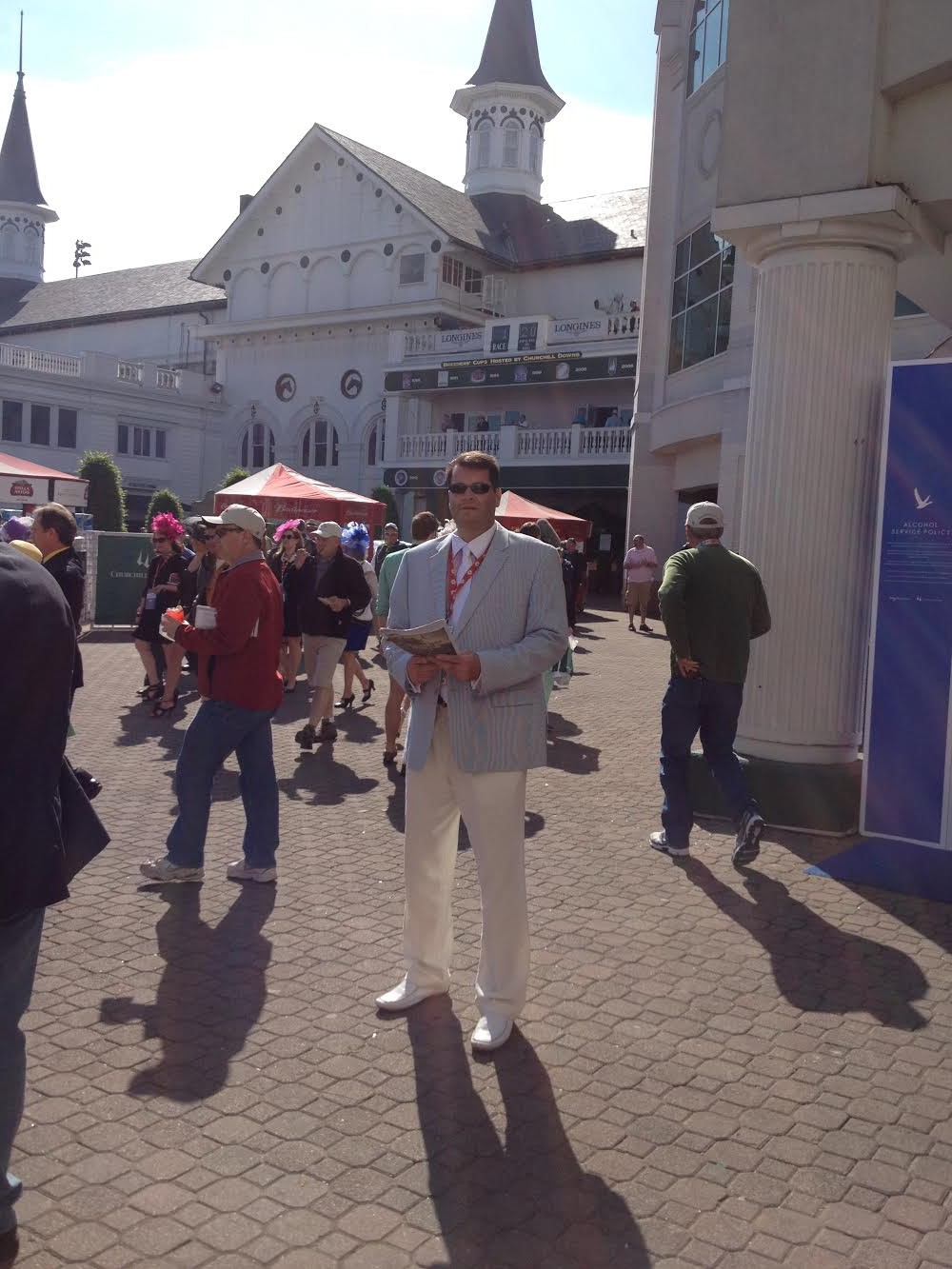 Tom Carley in front of the  Twin Spires at Churchill Downs
