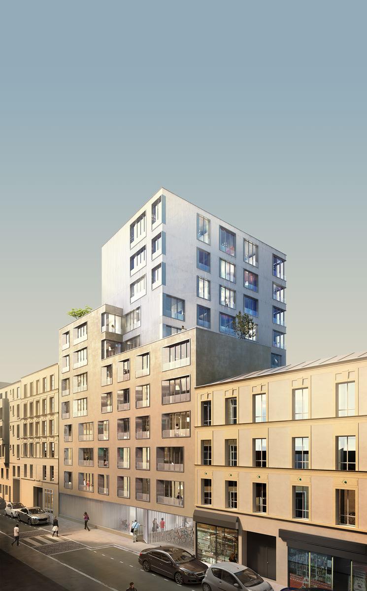Dégradé bleu vers beige clair    En dégradant non pas vers le blanc, mais vers une teinte plus proche des couleurs dominantes des bâtiments, nous obtenons une image globalement plus homohène et cohérente.