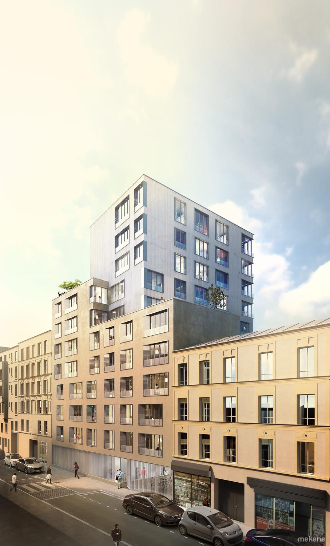 Perspective 3d immeuble de logements concours architecture
