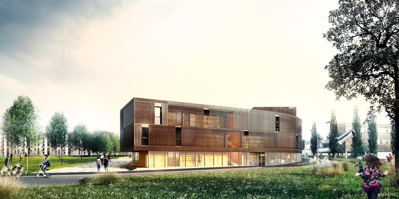 Perspective architecture foyer permis de construire
