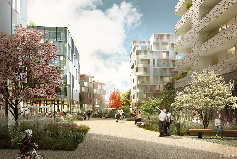 Perspective d'ambiance du projet montrant les immeubles de bureaux et de logements se développant le long du square.