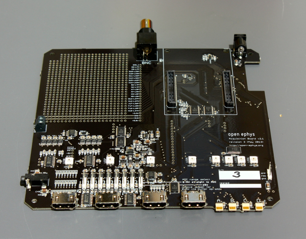 One of the assembled boards, exactly as it arrived (except for the handwritten serial number).