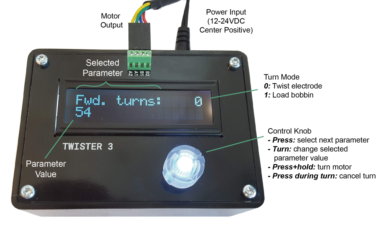 The  control box  is used to set twist rates, number of turns turns, etc. It drives to motor  for both twisting probes and re-loading quick-draw bobbins.