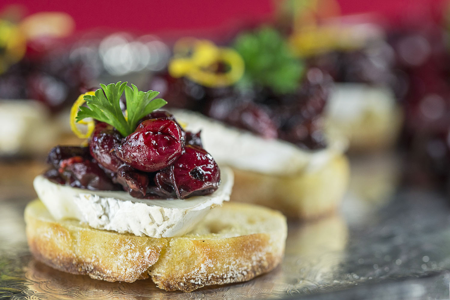 Holiday-schetta, balsamic roasted cranberry, brie