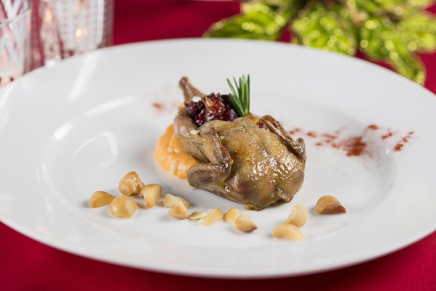 Quail Confit, whipped sweet potato, toasted macadamia nuts