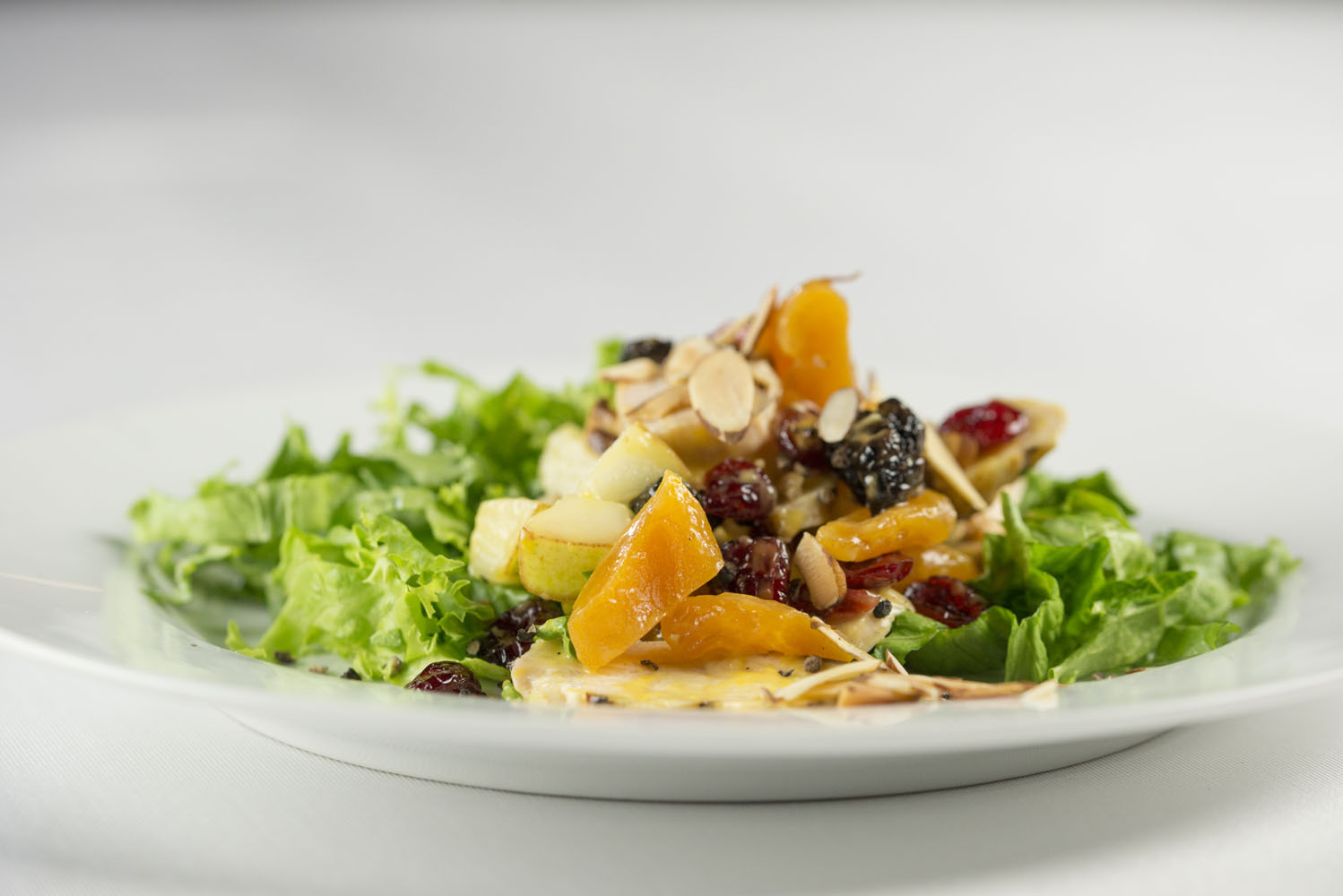 Bartlett Pair &Chicken Salad, free range chicken breast, Bartlett pears, dried cranberries, apricots, orange vinaigrette