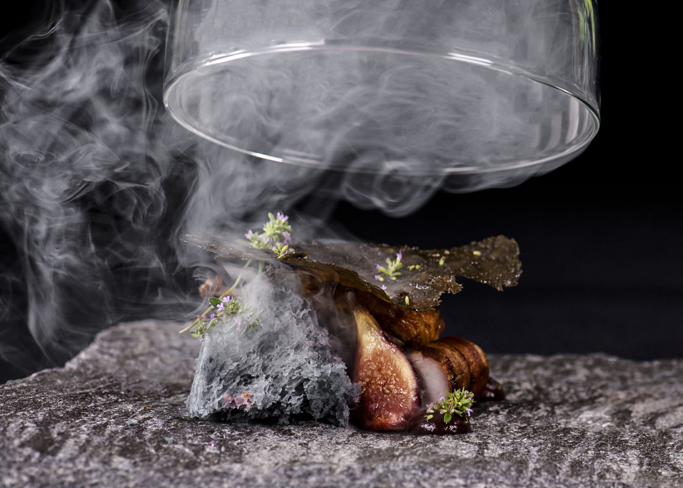 Quail - japanese binchotan grilled, cornbread, fig puree, vanilla, rosemary