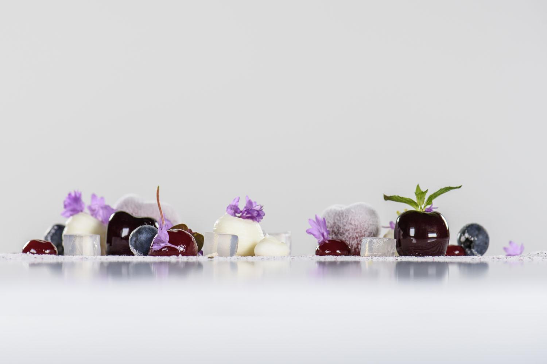 Cherry - morello, sakura tea granite, ginger ice cream, crystalized rose petals