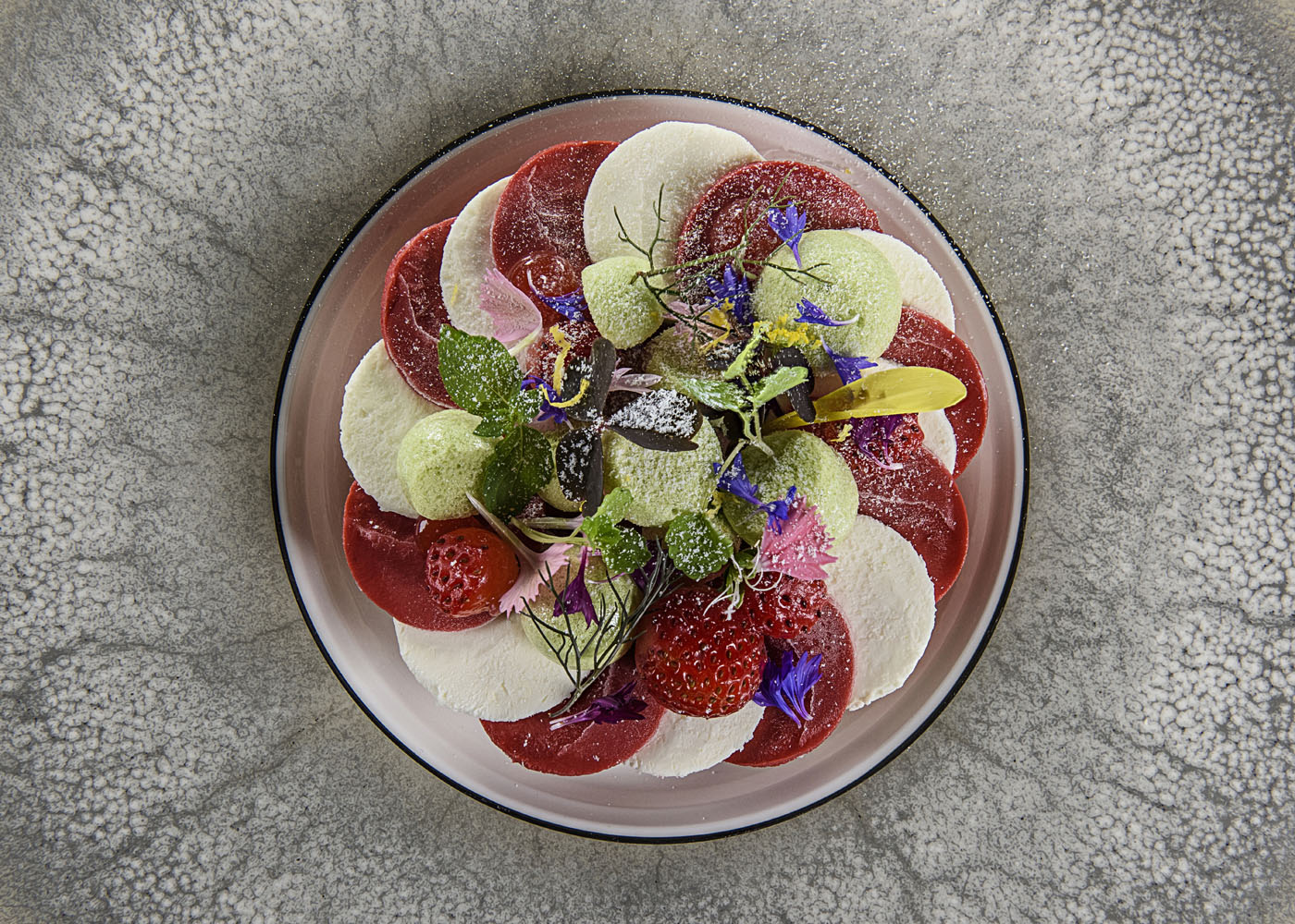 Strawberry - strawberry-basil cremeaux, alpines, garden herbs, strawberry sorbet
