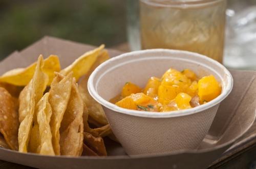 House Fried Chips in Local Sunflower Oil, Orange Blossom Tomato Salsa