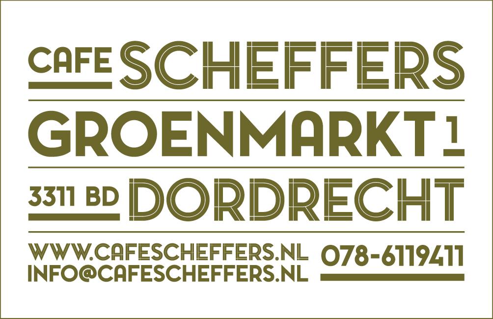 Visitekaartje achterkantCafé Scheffers