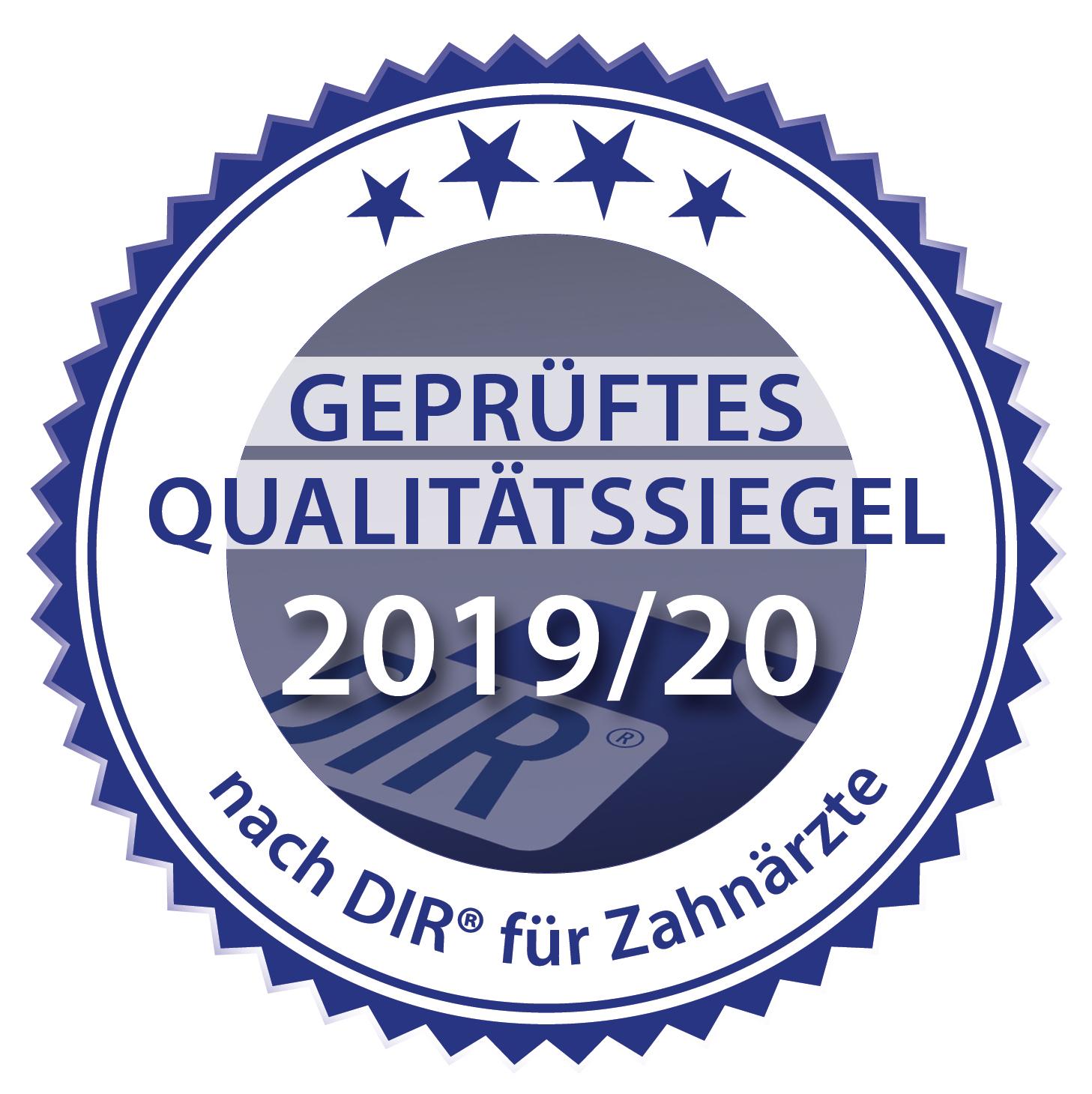 Geprüftes Qualitätssiegel  2019/20 nach DIR® für Zahnärzte