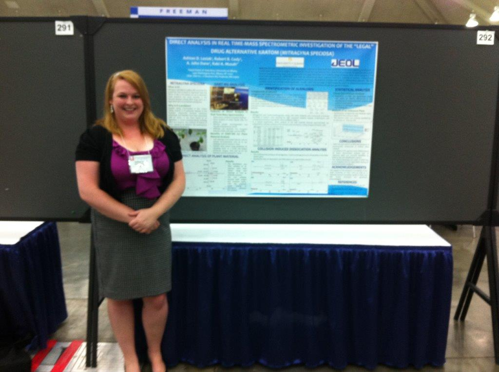 Graduate student, Ashton Lesiak presents her research on Kratom at the 2014 ASMS Annual conference.