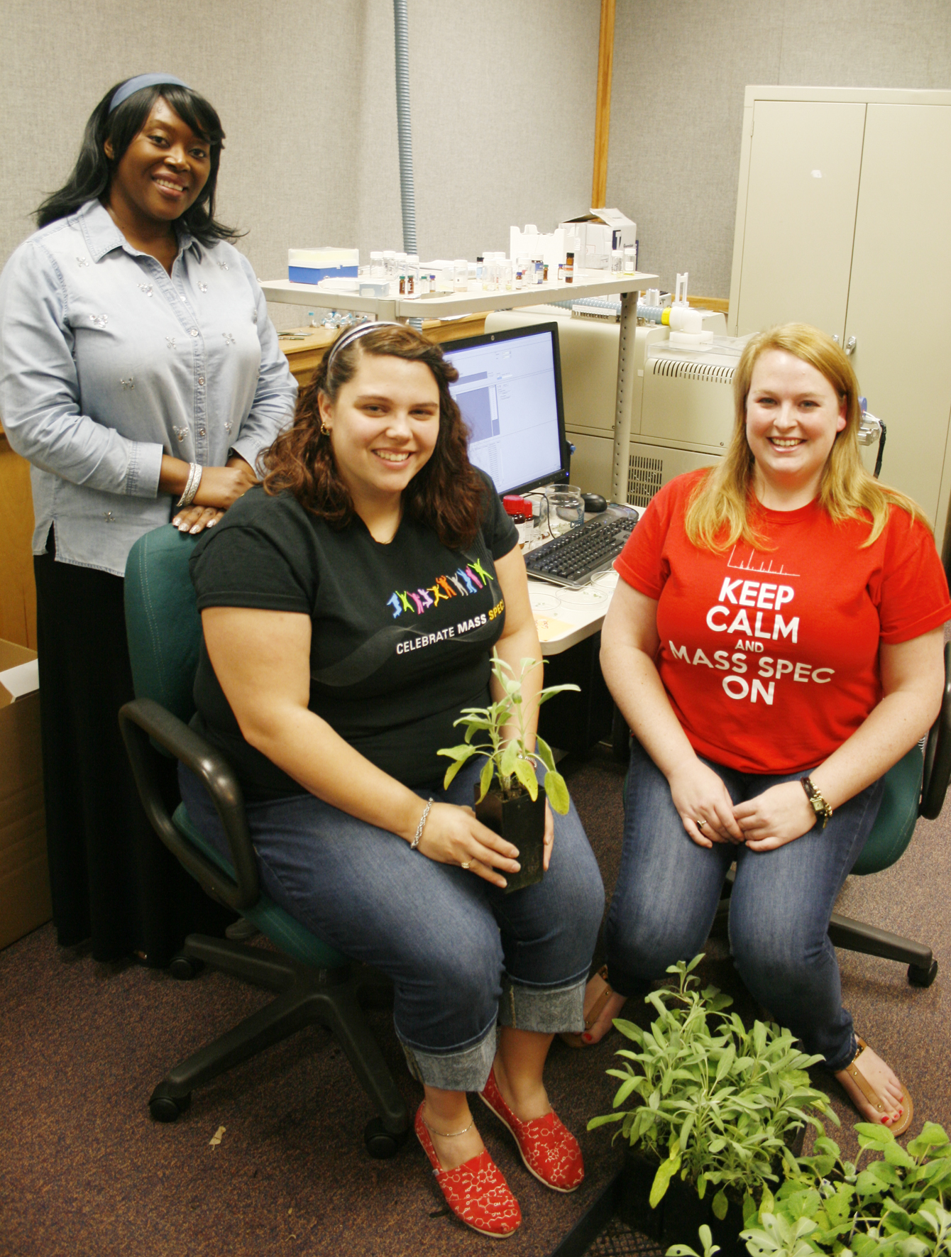 Professor Musah with Ashton and Justine analyzing plant samples at JEOL USA, Inc.