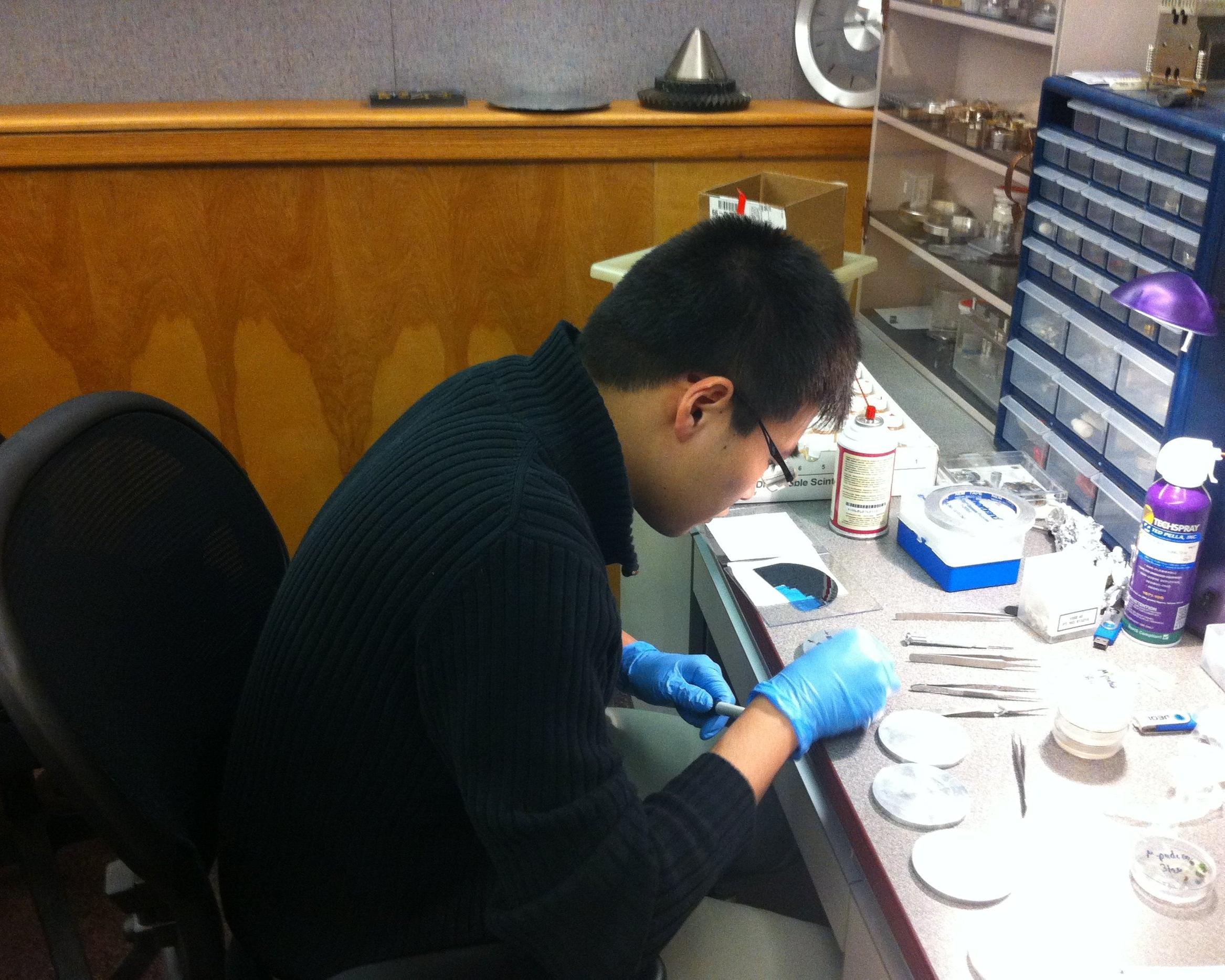 Denny preparing SEM samples at JEOL USA Inc_IMG_0243.JPG