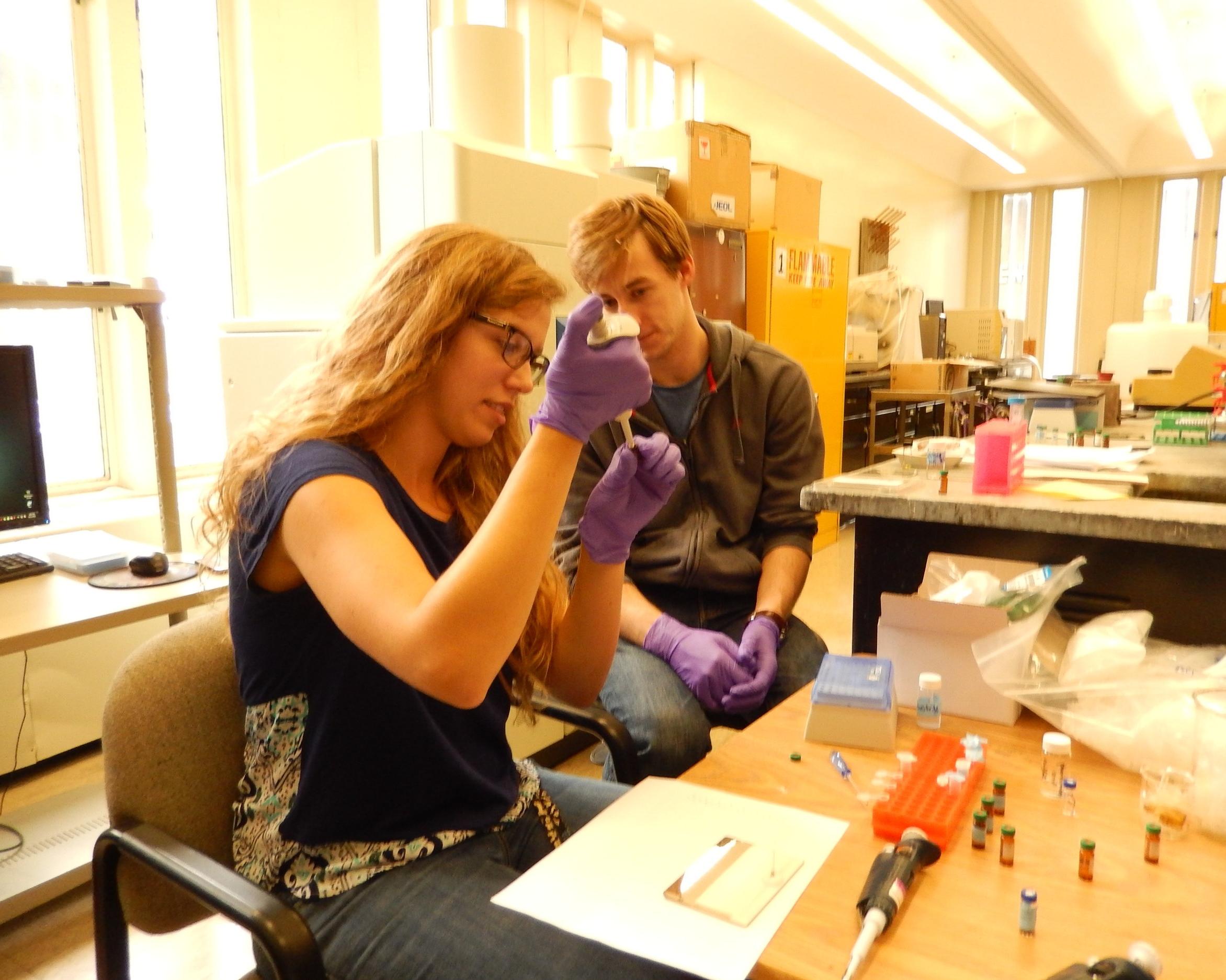 Kristen preparing MALDI samples with Cam.JPG