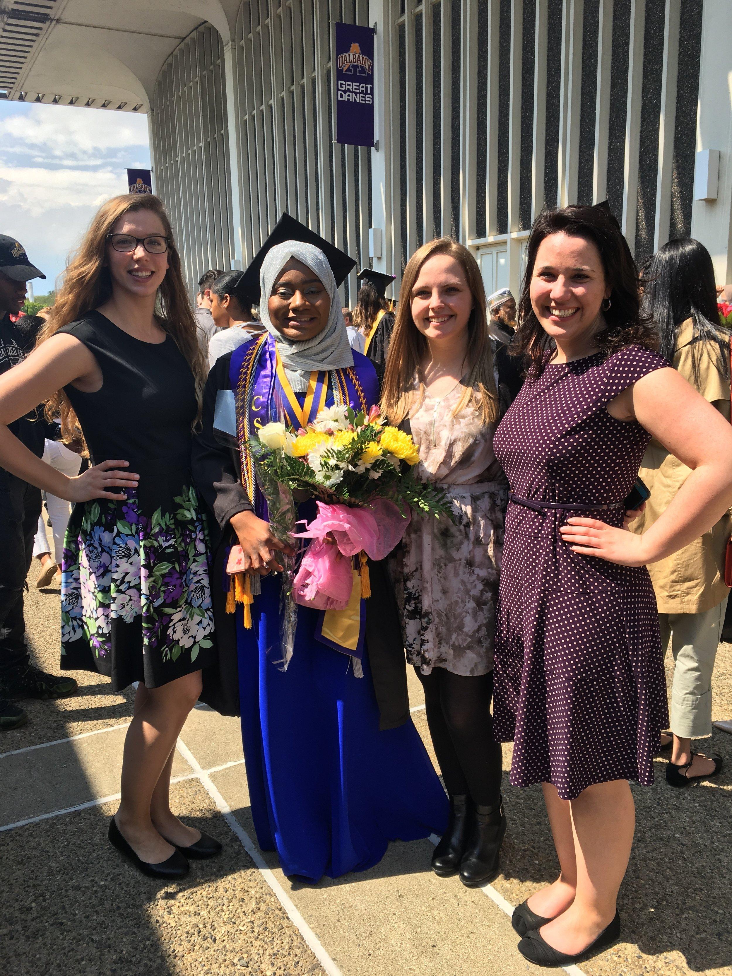 Kristen, Meghan and Allix celebrating with Nana-Hawwa.
