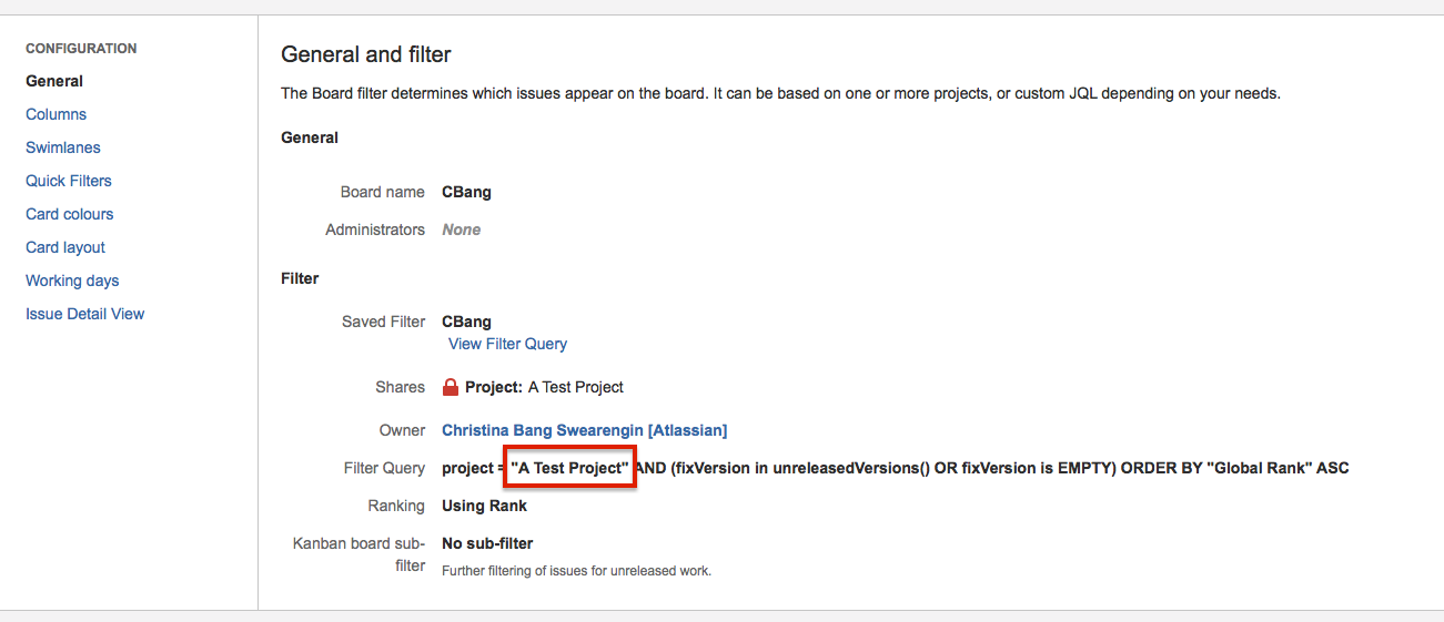Look at the  Filter Query  to see which projects are included in the agile board