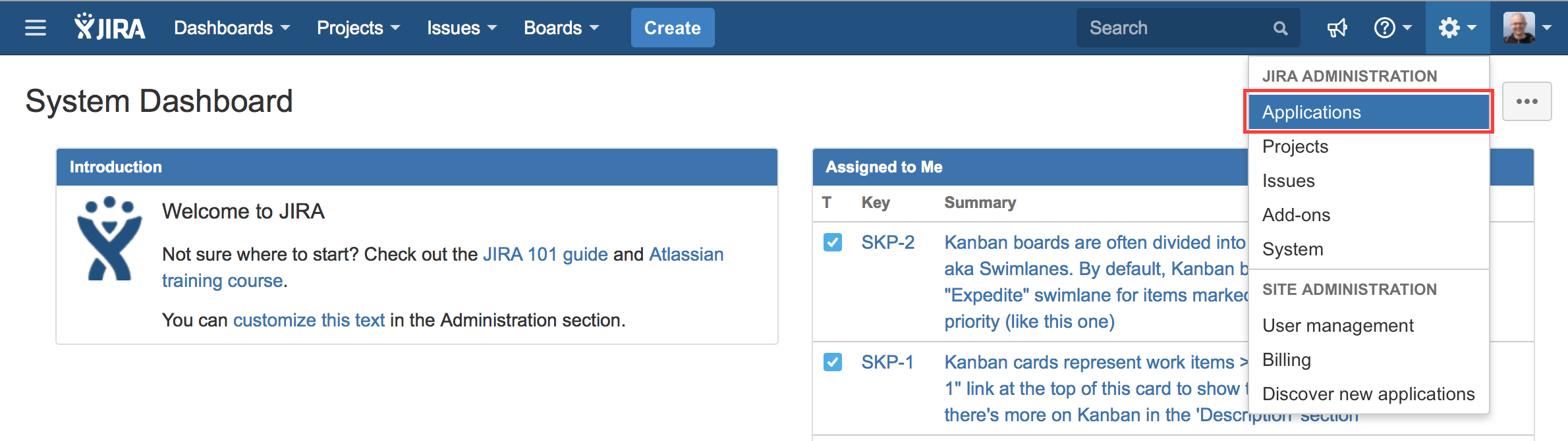 Select   Applications   from the Jira Administration menu on top right corner