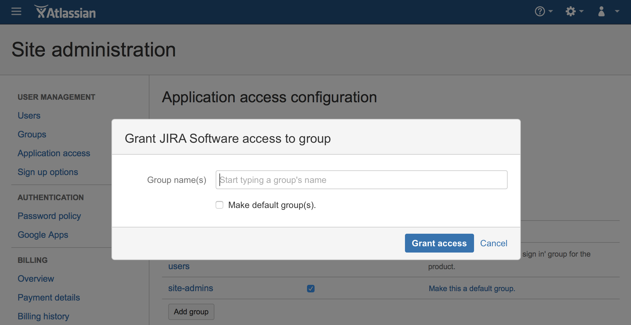 Click on  Add group  and then grant access