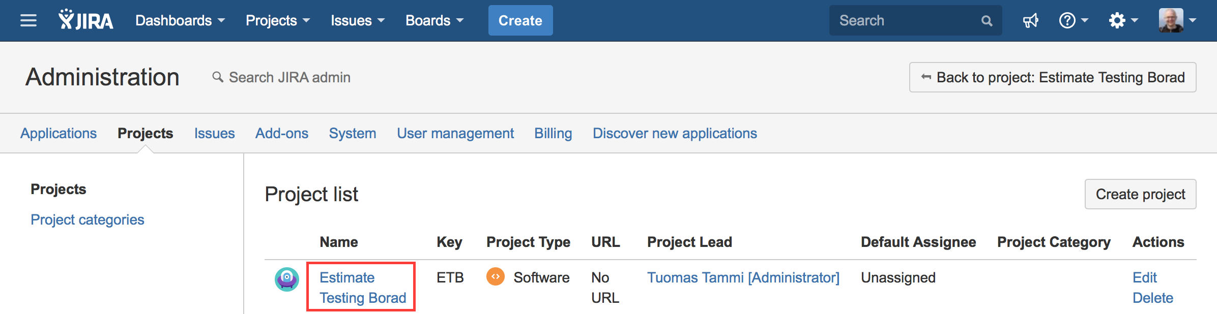 Select the project by clicking the name