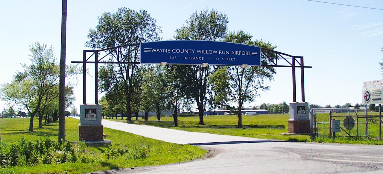 Willow Run Airport Entrance Sign