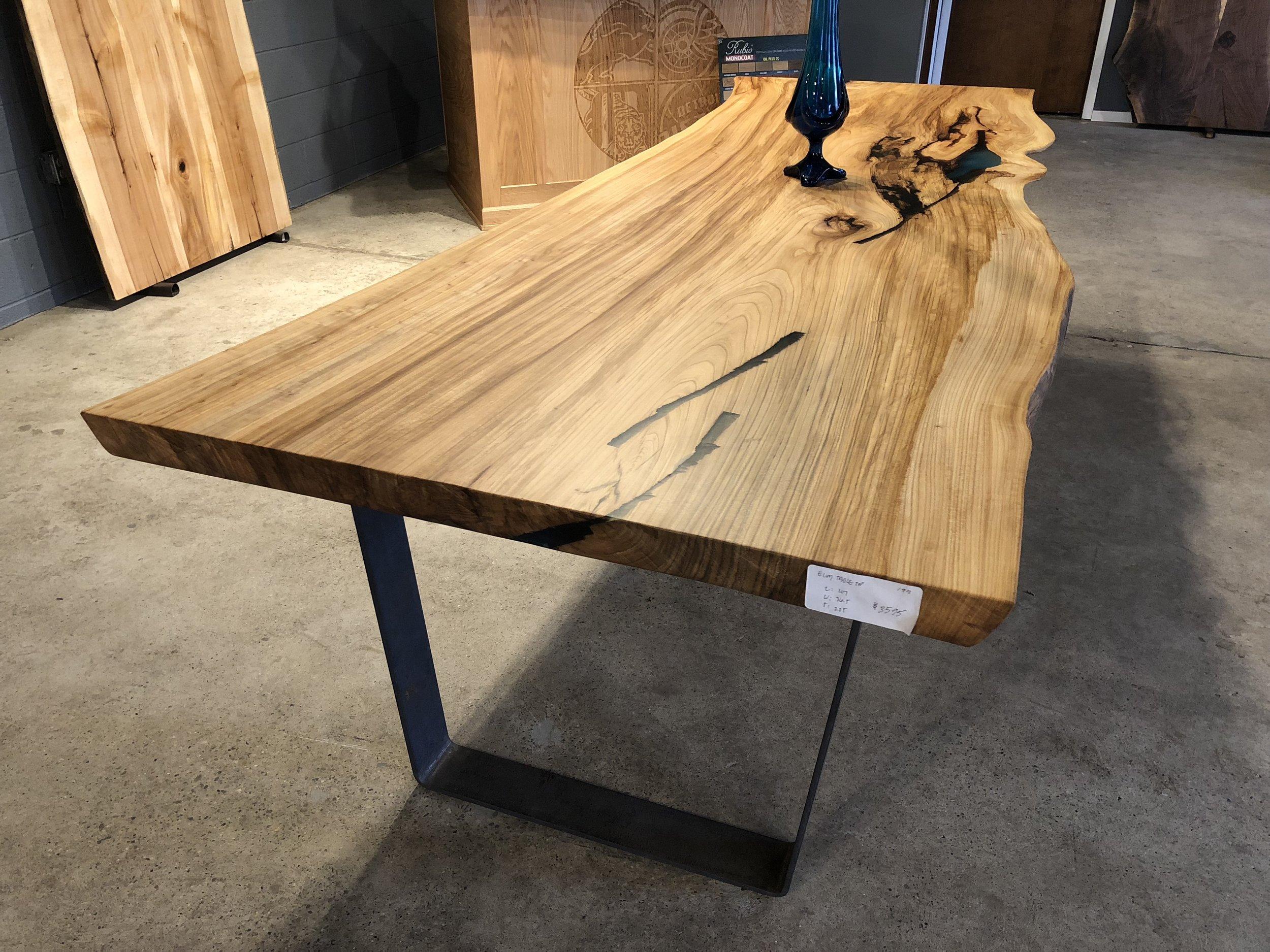American Elm Slab Dining Table Tree Purposed Detroit Michigan Live Edge Slabs Reclaimed Wood