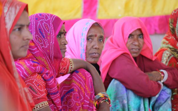 Women at a panchayat meeting