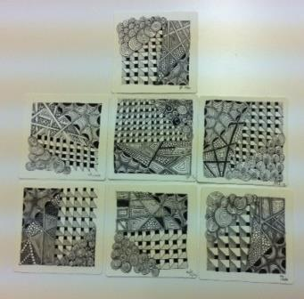 The finished tangles - all produced following the same method, but all very different