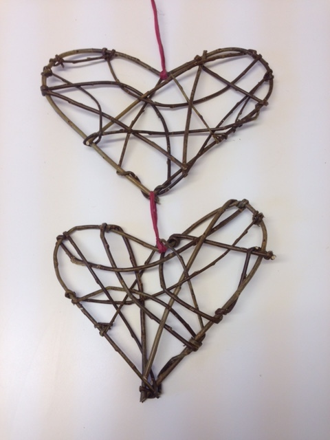 Hearts designed to hang in a kitchen.