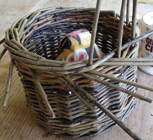 Stake & strand basket in progress