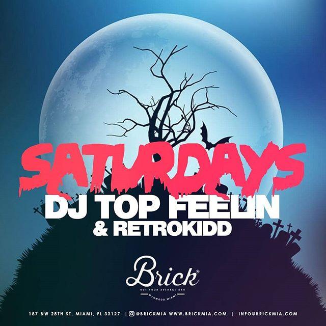 Back at again at @brickmia 👻 Tonight we got @djtopfeelin in the build'n! 🤘  #brickmia #miami #wynwood #party #hiphop #rnb #dj #halloween